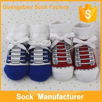 Solid Color Baby Skidder Rubble Sole Shoe Socks Fabric Rubber Skidder Baby Shoe Socks