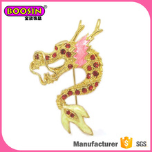 China mascot Gold Plated rhinestone dragon brooch wholesale brroch pin,decoratived safety pin brooch