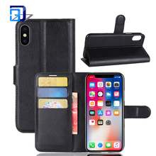 For iphone x tpu+leather wallet card litchi grain mobile phone protector case