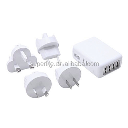 New Universal 4 USB Port Home Wall Travel Charger portable micro usb charger Safe and Durable With Built-in Short Circu