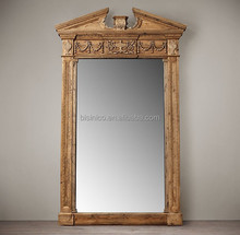 French Provincial Wood Carving Full Length Decorative Mirror/ENTABLATURE MIRRORS/Home Decor Retro Hand Carved Mirror, MOQ 1 PC