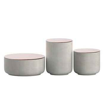 Carrara white candle jar with copper lid