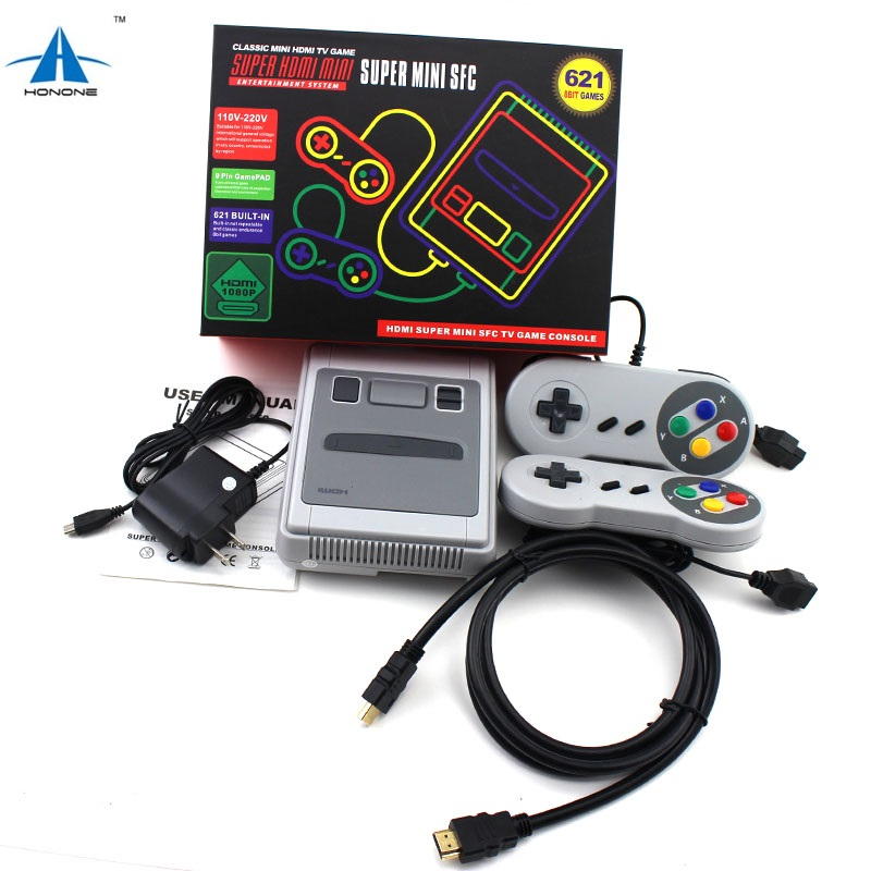 2018 Hot sale Retro Mini console for SFC 621Games Video Game console Built in 621 8bit games HD 1080P Output Classical console