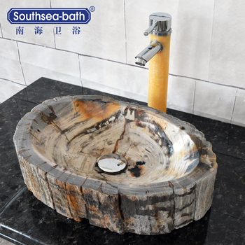 Wooden fossil shell shape new style bathroom stone sinks