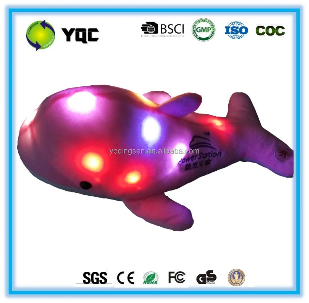 High quality whale led light plush 7 color change glowing stuffed toy