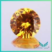 Wholesale Factory price 2.0mm #22 Faceted Round loose synthetic yellow sapphire gems for Necklaces Jewelry making free sample