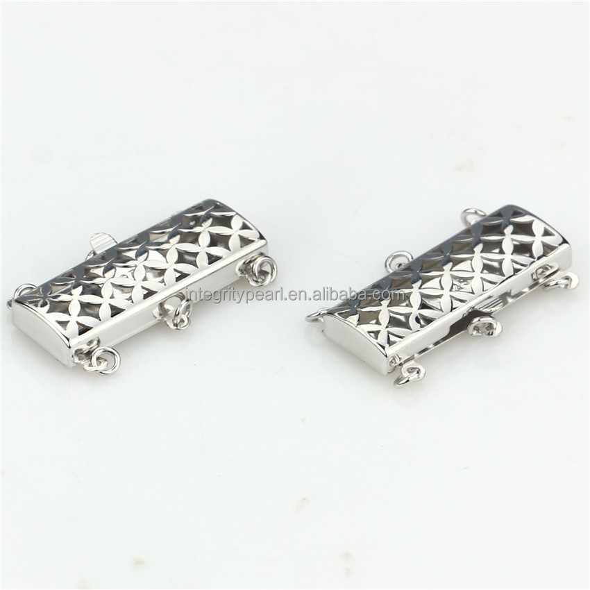SNH 100% 925 sterling silver three rows clasp for jewelry latest design