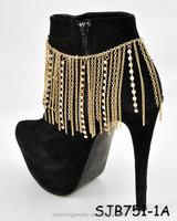 2016 vintage fashion gold tassel anklet for women