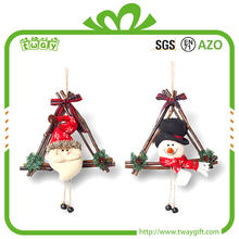 "25x21"" New products hanging snowman decoration rattan wholesale santa claus ornament garland christmas wreath"