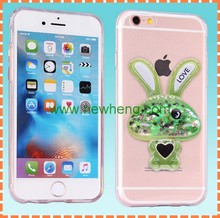 3D Rabbit Liquid Star Sand TPU Case Glitter Quicksand Crystal Clear Phone Case For iPhone 6