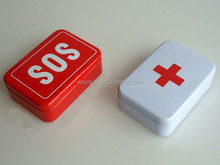 SOS / + Tin Box Case Emegency Lid Container for Survival Gear Kits Set Self-Help First Aid Metal Pill Box