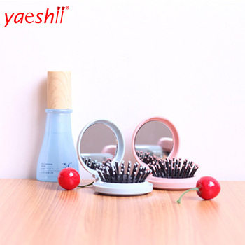 yaeshii new style potable folding pocket low MOQ factory price hair brush with make up mirror