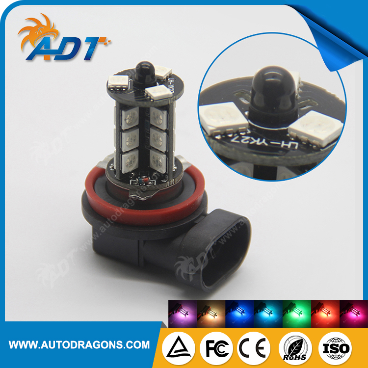 RGB LED Auto Car Headlight 9005 9006 H11 880 5050 LED 27 SMD RGB Fog Light Head Lamp Bulb With Remote Control Car Styling