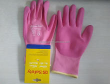 DS safety 13g pink grey & nylon liner ,foam NBR and waterbased PU palm coating glove wtih CE EN388 3131