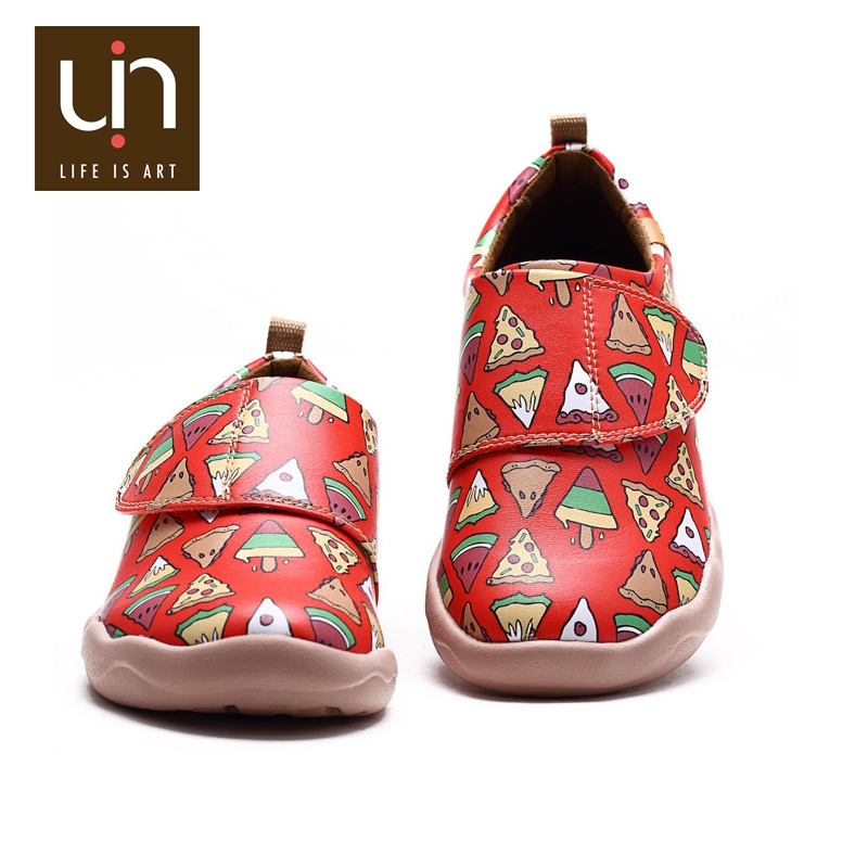 UIN Good taster fast food 2016 New Arrival Fashion Girl Kids Casual Shoes Children Red Microfiber Leather Suede inner Shoes
