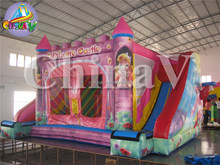 Inflatable princess bouncy castle, inflatable moon bounces with slide, inflatable jumping castle for kids