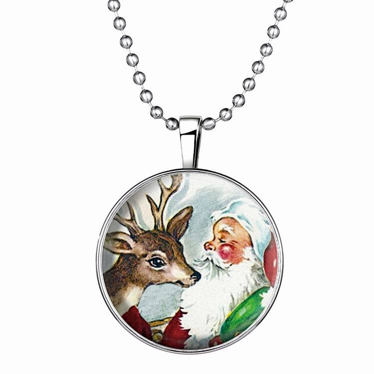 Perpetual Glow Jewelry Round Disc Necklace Birthday Party Gifts Christmas Reindeer And Santa Claus Necklace for Festival