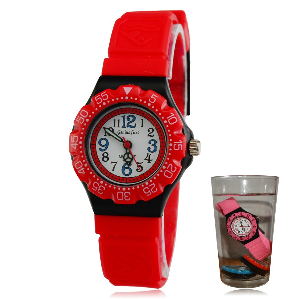 Cute silicone water resistant kids watches