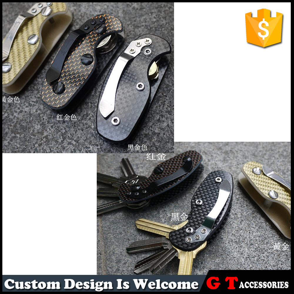Outdoor carbon fiber EDC items of key holders with a single opening, key organizer can holding five keys