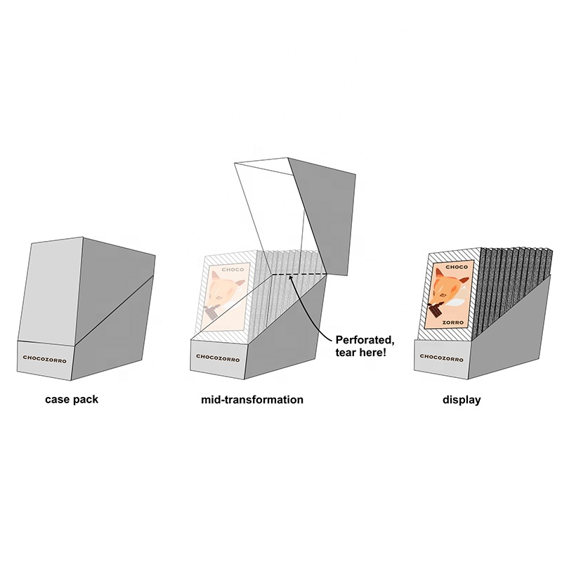 promotional pop shelf ready packaging tear away folding pdq counter template counter paper cardboard display box