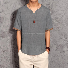 Summer short sleeves Chinese tradition style linen shirt, solid color linen shirts with short sleeves, loose slip men shirt