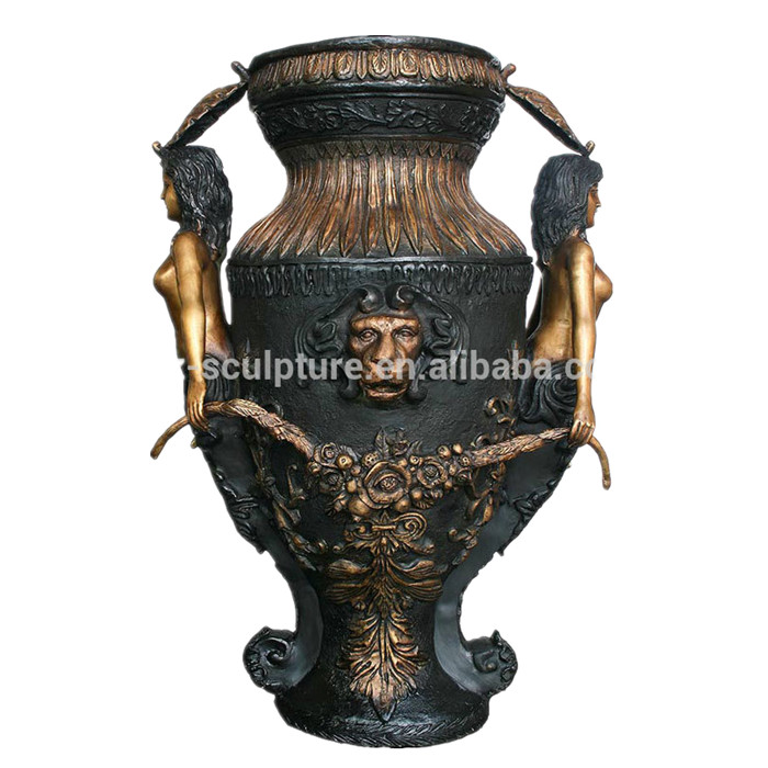 Large Size Antique Bronze Vase With Sexy Woman And Lion Head Buy