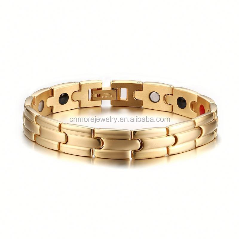 SJSBRM-081 Anti-radiation Relieve Pain Gold Plating Germanium Magnets Men Stainless Steel Health Bracelet