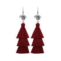 JM68450 Yiwu Huilin Jewelry Bohemian Retro Lady Long Silk Thread Handmade Alloy Drop Earrings Tassel Earrings for Women
