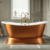 Freestanding Double Slipper Cast Iron Bath Tub On Pedestal With Painted