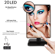 Fashion 20 LED Light Touch Screen Makeup Mirror Vanity Square Desk Stand Cosmetic Mirror Make Up Tools Rotatable Design