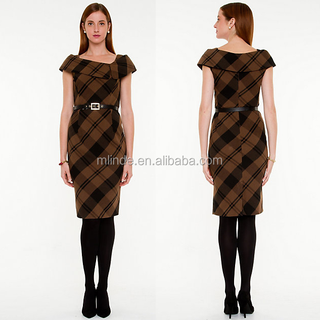 Korea Style Casual Women Fashion Cap Sleeve Plaid Split Cowl Neck Sheath Dress for Office Ladies Formal Patterns Dresses