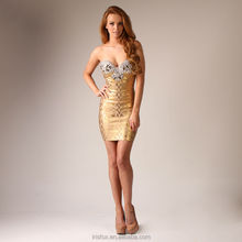 Golden beaded wedding dress dolman dress exotic prom dress