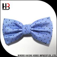 Cheap 100% silk bow tie men- blue with black spots