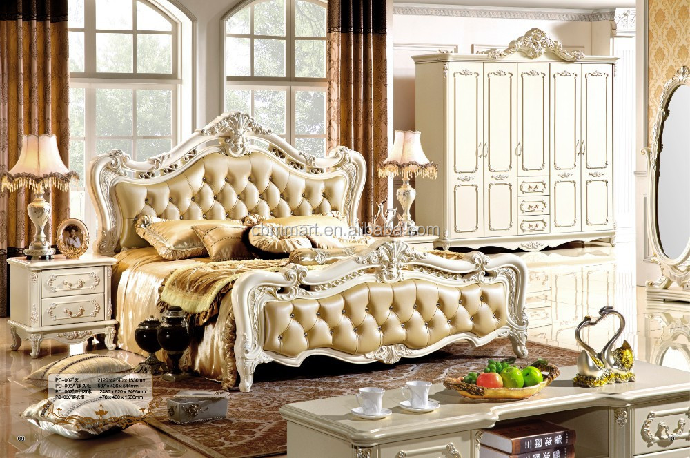 op quality home furniture / carved bed room set / solid wood modern design bedroom set