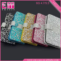 Full Wallet Diamond Case For iPhone 6/6 Plus, Stand Glitter Leather Case For iPhone 6