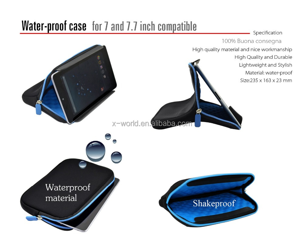 Wholsale price in store 7 inch neoprene universal pouch with zipper for ipad/samsung