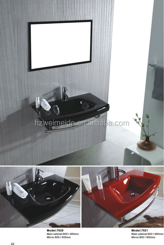 black wall hung glass washbasin