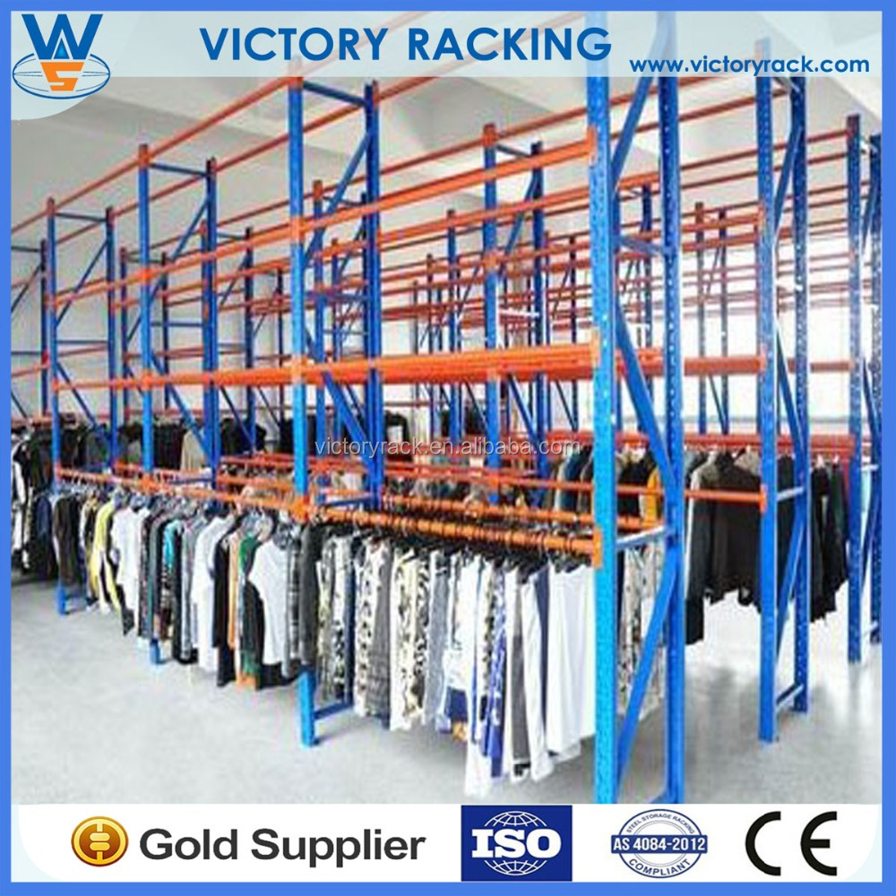 The pallet racking garment hanging system for clothing factory, the showroom floor, the stockroom for retail shops