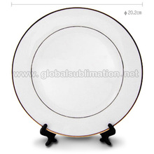 Sublimation 8''Rim Plates With Gold Trim