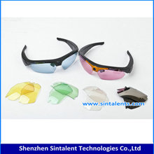 Hot selling high quality outdoor sports glass camera sunglasses, sunglasses camera