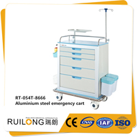 Aluminum Steel Metal Manual Medical Trolley With Stand