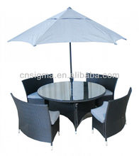 2017 Outdoor rattan round dining Garden Furniture Table Bench With Umbrella