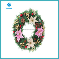 50cm pvc christmas wreath with big pink flowers ,and with pine cones and red cherries decoration