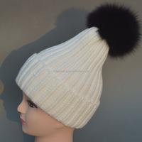 Cheap beanie hat with fur pom poms warm hats for winter mens and ladies knit hat