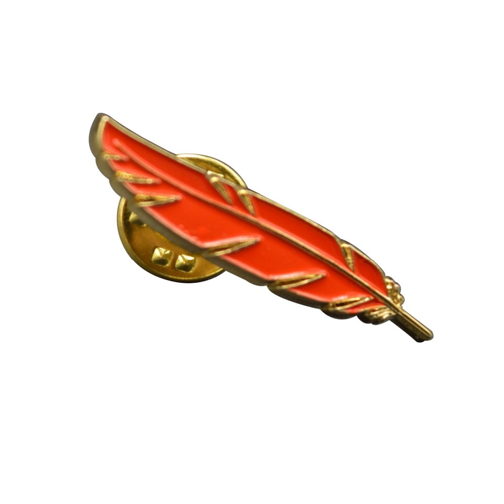 customized leaves shape metal promotional gifts pin badge