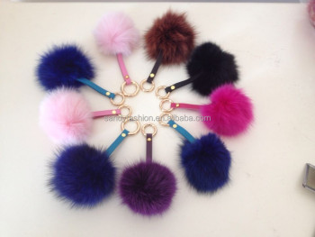 2014 new handmade fur ball keychain top 12cm real color item fox fur pom poms
