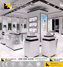 Modern design wooden glass cosmetic display stand retail shop showcase furniture for makeup store in shopping mall