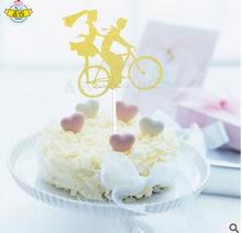 Acrylic Big Day Wedding Cake Topper Wedding Cake Stand Couple tandem bicycle Cake Decorating Supplies