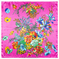 60cm*60cm 2016 new women flower butterfly pattern Mai Tong simulation satin surface of the small square scarf