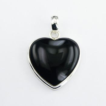 Black Agate Convexed Heart Pendant Set In Sterling Silver